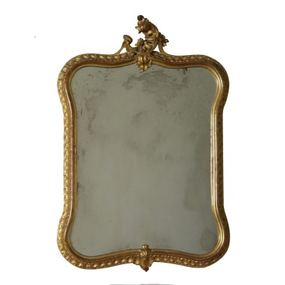 Revival Shaped Carved Gilded Mirror Italy First Half of 1900s