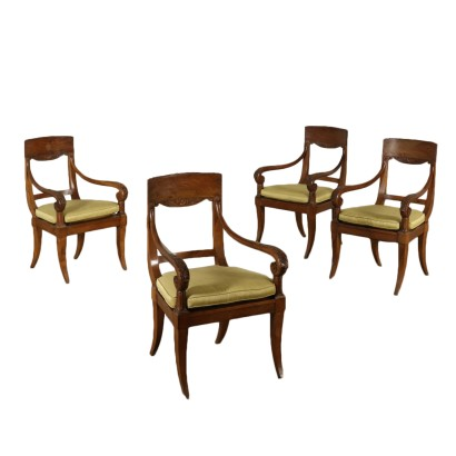 Set of Four Walnut Armchairs Italy Second Quarter of 1800s