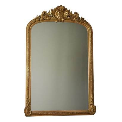 Large Carved Gilded Mirror Manufactured in Italy 1800s