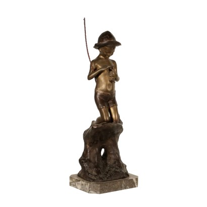 Young Fisherman by Giovanni De Martino Bronze Early 1900s
