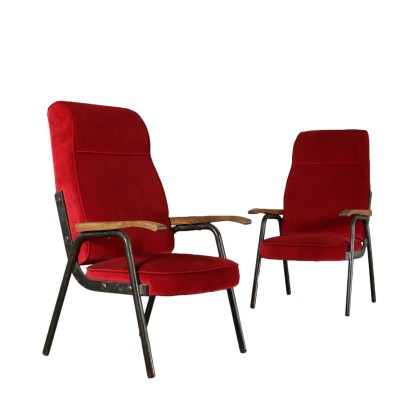 Pair of Armchairs Metal Structure Velvet Vintage France 1950s-1960s