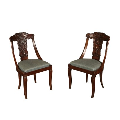 Pair of Gondola Chairs Walnut Italy First Half of 1800s