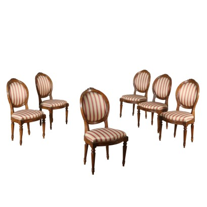 Set of Six Neoclassical Walnut Chairs Italy 18th Century