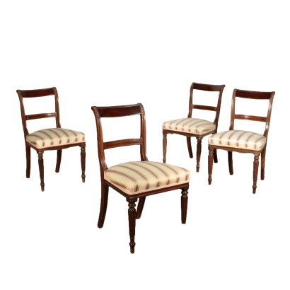 Set of Four Chairs Mahogany England Late 19th Century