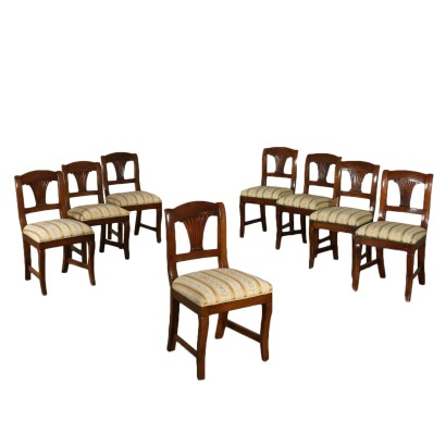 Set of Eight Restoration Chairs Walnut Italy 19th Century