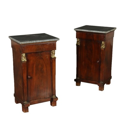 Pair of Empire Nightstands Mahogany Italy Early 1800s