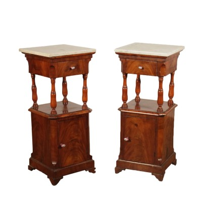 Pair of Nightstands Marble Top Italy Second Half of 1800s