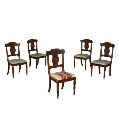 Set of Five Mahogany Chairs England Mid 19th Century