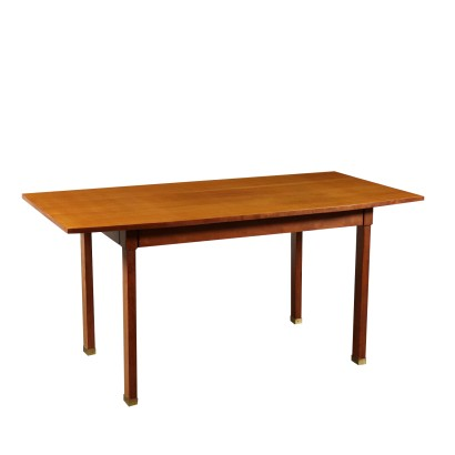Table Stained Beech Mahogany Veneer Vintage Italy 1960s