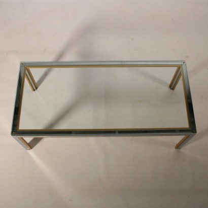 Coffee Table Chromed Metal Brass Glass Vintage Italy 1970s-1980s
