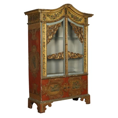 Decorated Glass Cabinet Lacquered Wood Italy 20th Century