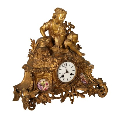 Table Clock Gilded Bronze France Late 19th Century
