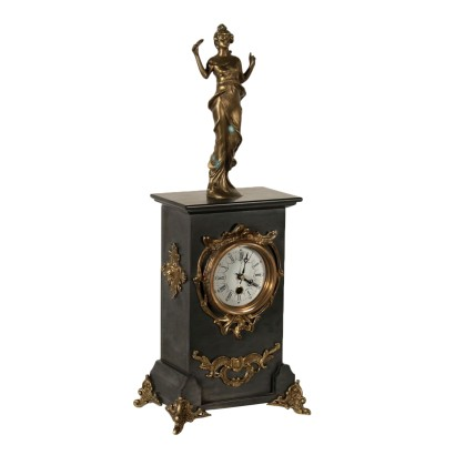 Antique Table Clock Black Marble Bronze 20th Century