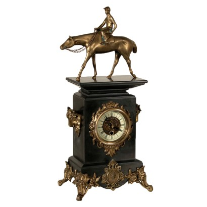 Table Clock Bronze Black Marble 20th Century