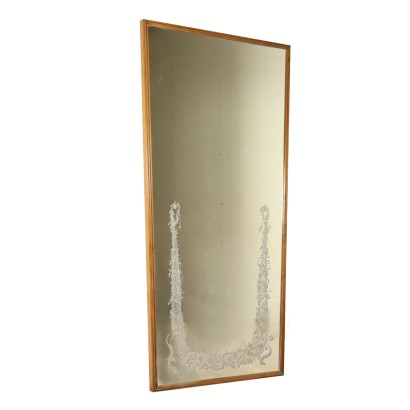 Decorated Mirror Stained Beech Frame Vintage Italy 1950s