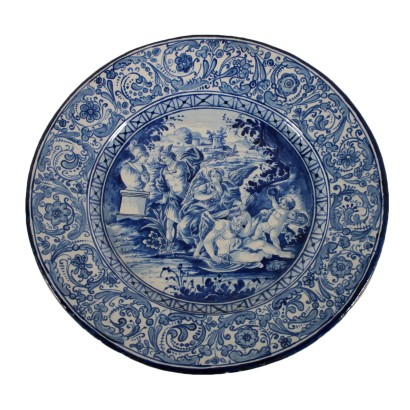 Decorative Plate Blue Ornaments Italy Early 20th Century