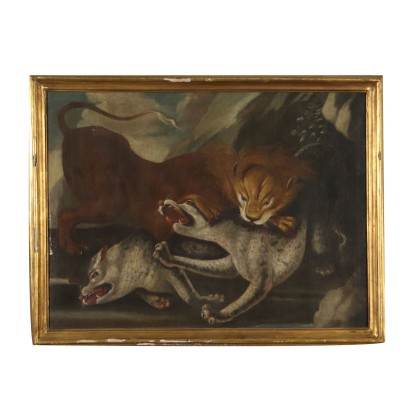 The Lion's Assault Oil on Canvas Painting 18th Century