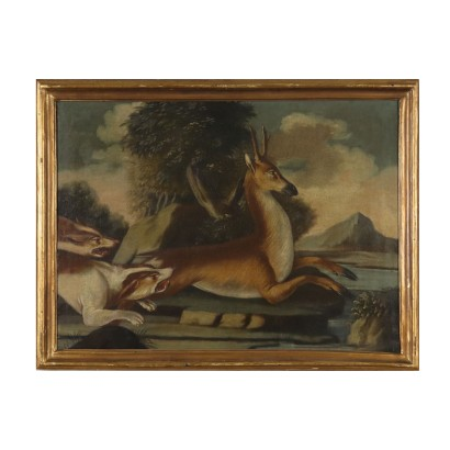 The Deer Hunting Oil on Canvas Painting 18th Century