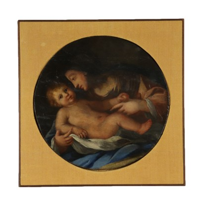 Madonna with Child Oil on Board 19th Century