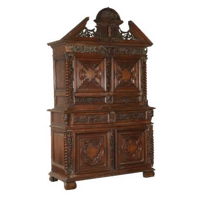 Carved Double Body Cupboard Walnut Italy Late 1600s