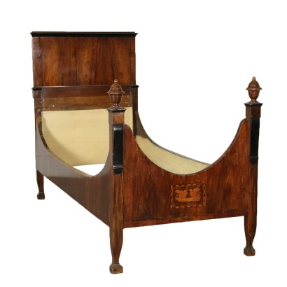 Single Bed Restoration Walnut Italy 19th Century