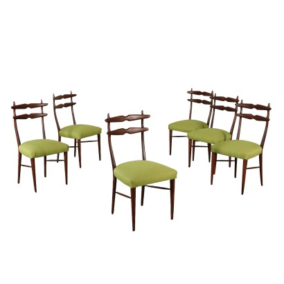 Set of Chairs Stained Beech Vintage Italy 1950s-1960s