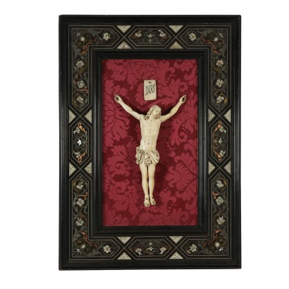 Frame with Ivory Christ Refined Inlays Florence Italy 1800s