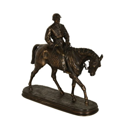 Jockey Gilded Bronze Sculpture France 19th-20th Century