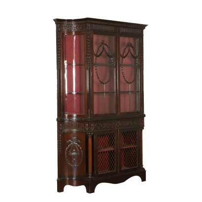 Carved Display Cabinet Mahogany England 19th Century