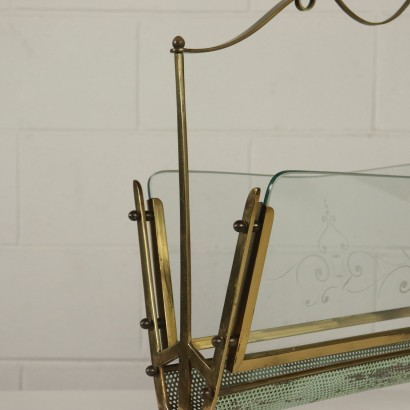 Magazine Rack Brass Metal Glass Vintage Italy 1950s