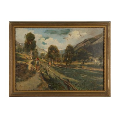 Val D'Aosta Landscape by Alberto Rossi Painting 19th Century