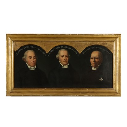 Triple Portrait of Men Oil on Canvas Painting 19th Century