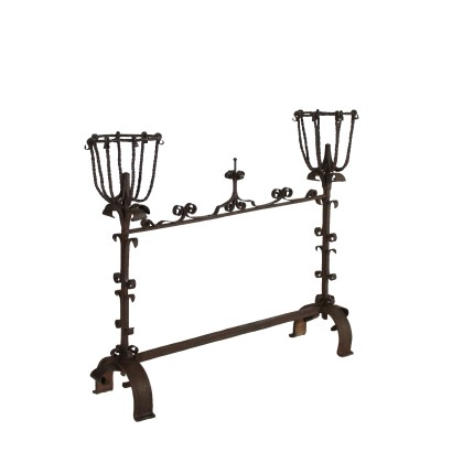 Wrought Iron Fireplace Andiron Italy 17th-18th Century