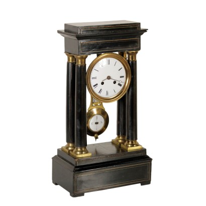 Portico Clock Gilded Bronze Made in France First Half of 1800
