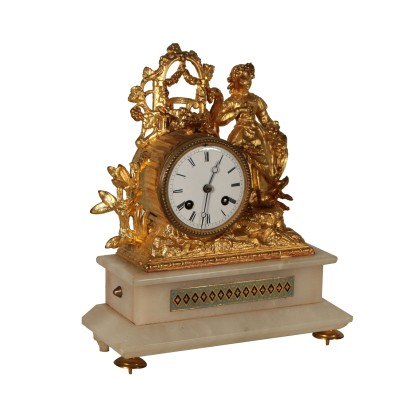 Table Clock Gilded Antimony Alabaster France Late 1800s