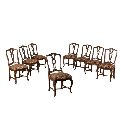 Set of Eight Revival Chairs Walnut Italy First Half of 1900s