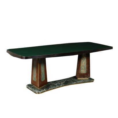 Table Rosewood Veneer Glass Marble Vintage Italy 1950s