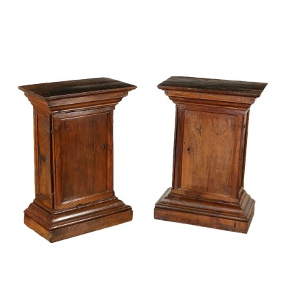 Pair of Walnut Vase Stands with Door Italy 18th Century