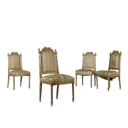 Set of Four Revival Chairs Lacquered Wood Italy First Half of 1900s