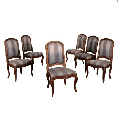 Set of Six Chairs Louis XV Carved Walnut Italy First Half of 1700s
