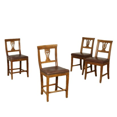 Set of Four Walnut Chairs Italy Early 19th Century