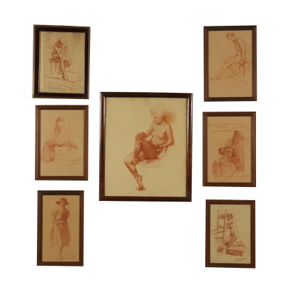 Set of Seven Drawings by Anna Bocca 20th Century