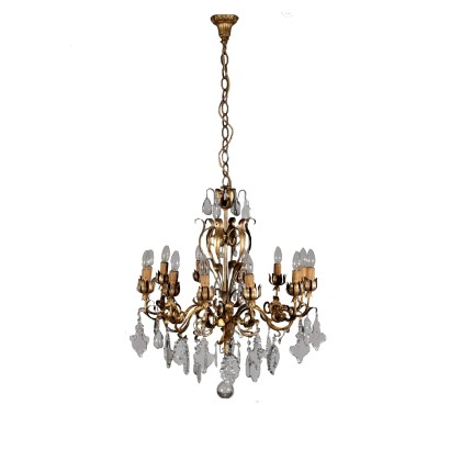 Chandelier with Six Arms Crystal Pendants Italy Late 1800s