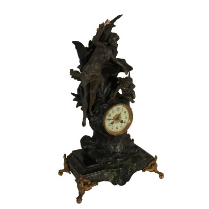 Table Clock Marble Base Metal Antimony France Late 1800s
