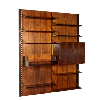 Wall Bookcase Rosewood Veneer Brass Vintage Italy 1960s