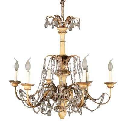 Lacquered Chandelier Iron Wood Glass Italy 20th Century