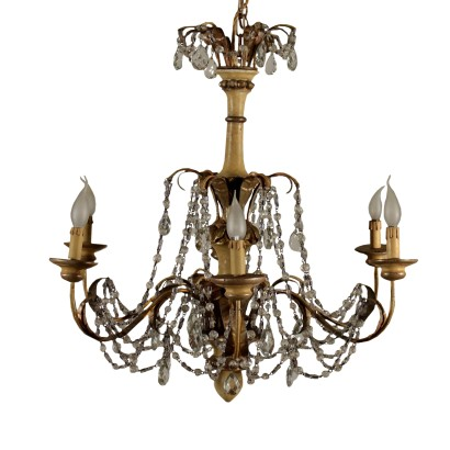 Chandelier Lacquered Iron Wood Glass Italy Late 1800s