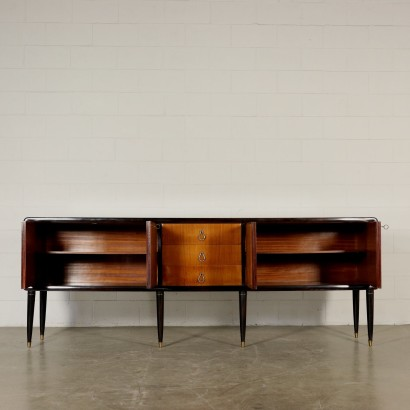 Buffet with Mirror Rosewood Veneer Glass Vintage Italy 1950s-1960s