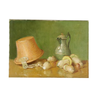 Still Life by Ernesto Alcide Campestrini Polenta, Mushrooms and Wine