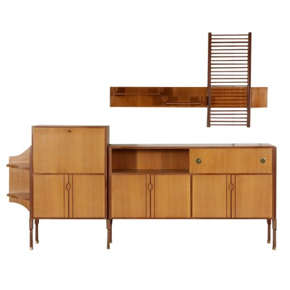 Buffet with Hanging Shelf Teak Veneer Vintage Italy 1960s